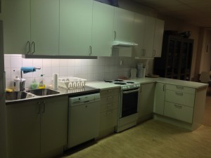 Köksdelen med sval/kyl, diskmaskin, spis och fläkt